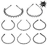 8 pièces Spring Wave Headband Hoop pour les hommes et les femmes, accessoires unisexe de bande de cheveux de peigne ondulé en métal (noir)