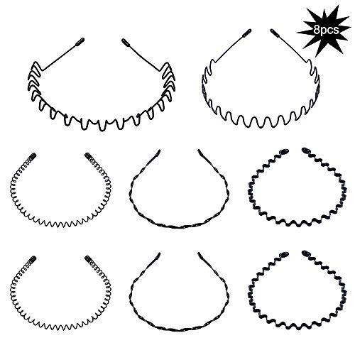 8 stuks Spring Wave hoofdband haar hoepel voor mannen en vrouwen, Unisex metalen golvende kam haarband accessoires (zwart)