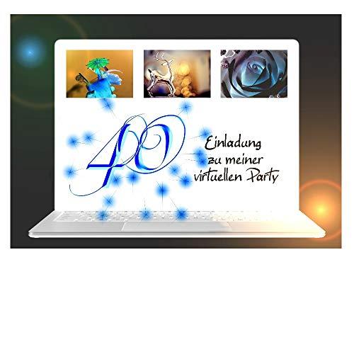 DigitalOase 2 Einladungskarten 40. Geburtstag VIRTUELLE PARTY Online Party MIT INNENTEXT 2 Klappkarten 2 Kuverts Format DIN A6#VIRTUAL2