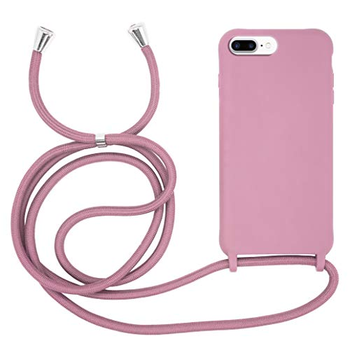 MyGadget Cover con Cordino per Apple iPhone 6 Plus / 6s Plus / 7 Plus / 8 Plus - Custodia con Collana TPU Opaca - Case Rigida & Resistente con Laccio - Rosa
