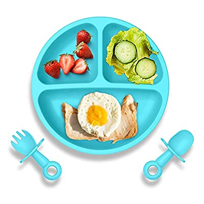 Baby Suction Plate with Self-Feeding Spoon Fork - BPA Free Infant Newborn Utensil Set for Self-Training, Suction Plates for Babies Toddlers, Dishwasher Microwave Safe (Blue) by Wellfine