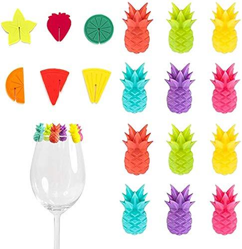 18 Fiesta de Marcadores de Vidrio de Silicona, Marcadores de Bebidas de Frutas, Etiquetas de Silicona para Marcador de Copa de Vino, Suministros de Fiesta de Marcador, Marcadores de Reutilizable