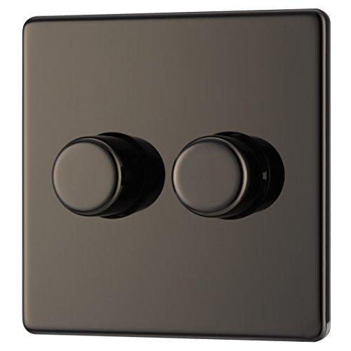 BG Elektrischer Lichtschalter, schraubenlos, flach, Einzel-Dimmer, schwarz, FBN82P-01