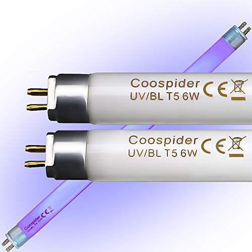 6 Watt Replacement Bulbs F6T5/BL Fluorescent Black Light G5 Base 9 inch Full Length (2 Pack)