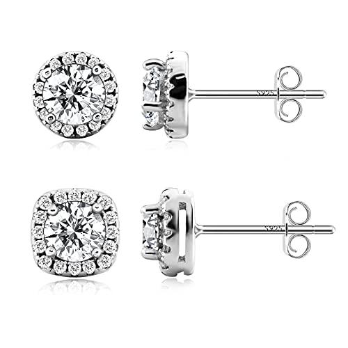 Sterling Silver Stud Earrings: 925 Cute Dainty Cubic Zirconia CZ Round Cut Halo Style Trendy Hypoallergenic Nickel Free Sensitive Ears Edgy Formal Fancy Jewelry Gift for Women Girls Mom 2 Pair Set