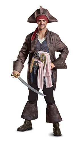 Freeze Mens Plus Size POTC5 Captain Jack Sparrow Deluxe Adult Costume, Brown, X-Large