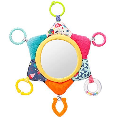 Fehn 055443 Activity-Spiegel Sonne COLOR Friends – Spielzeug zum Aufhängen für Babys und Kleinkinder ab +0 Monaten – Fördert die Ich-Entwicklung und Selbstwahrnehmung – Größe: 34 cm