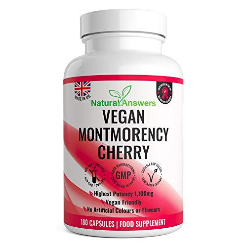 Montmorency Cherry | 180 Vegan Capsules | Cherry Extract 1100mg | High Strength Montmorency Cherries | UK Manufactured | UK Manufactured to GMP for Consistent High Quality | Trusted Brand