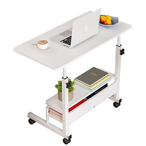 パソコンデスク サイドテーブル キャスター ミニデスク折りたたみテーブル ローテーブル ミニテーブル ベッドテーブル ベッドサイドテーブル テーブル 昇降式テーブル 仕事 介護用ベッドテーブル リビング80×40×60-90 cm
