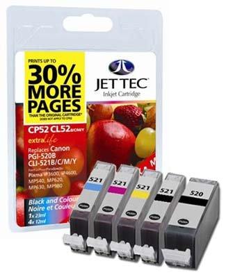 5 Jettec Kompatible Druckerpatronen - Ersatz für CLI-521/PGI-520 - Cyan / Magenta / Gelb / Schwarz / Schwarz- Mit Chip - Canon Pixma iP3600 iP4600 IP4700 MP540 MP550 MP560 MP620 MP630 MP640 MP980 MP990 MX860 MX870