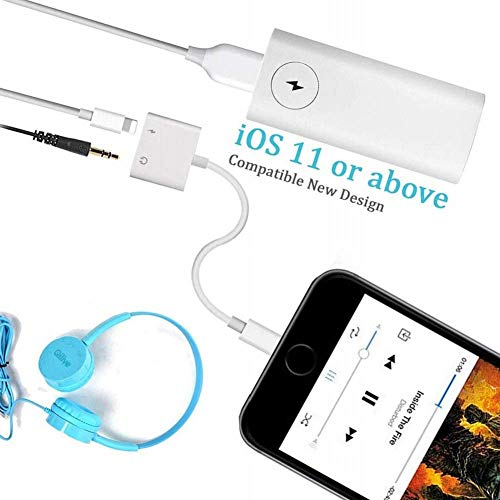 3.5 mm Jack Headphone Adapter Compatible for iPhone 11/11pro/11pro mas Xs/Xs Max/XR/ 8/8 P / 7/7 P Aux Adapter 2 in 1 Accessories Splitter Adaptor Charger Cables