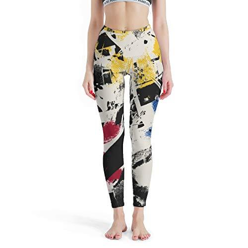 Las mujeres Splash Ink Leggings Seamless Pilates Pantalones Yoga Pantalones para Fitness blanco xl