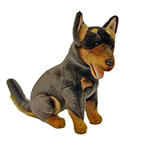 Bocchetta Plush Toys Basil Australian Kelpie Dog Sitting Stuffed Animal Toy Medium Brown and tan, 28cm/11 12