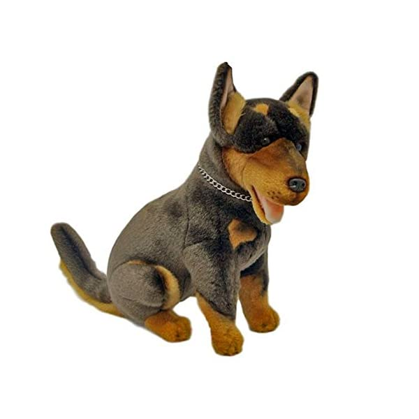 Bocchetta Plush Toys Basil Australian Kelpie Dog Sitting Stuffed Animal Toy Medium Brown and tan, 28cm/11 1