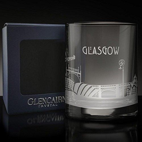Glencairn Glasgow Skyline Glas geätzt Whisky Tumbler und Präsentation Box 17cl