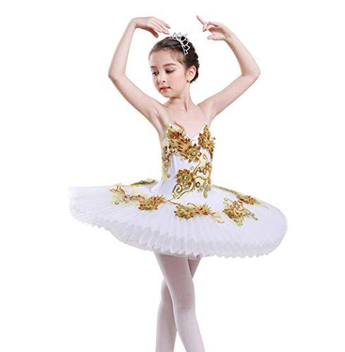ZYLL Kinder Sequined Schwanensee Ballett-Tanz-Kostüme Professionelle Tutu Ballett-Kleid-Mädchen-Ballsaal Bühne Wear-Tanz-Kleid,B,150CM