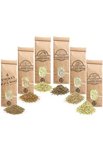 Smokey Olive Wood Sow 6X 300 ml selección de virutas de Madera: Olivo, Almendro, encina, limonero, Naranjo y Nogal. Talla Nº1.5: para Pistola ahumadora, AHLNVW1.5-06-0.3L