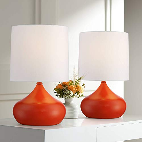 """Mid Century Modern Accent Table Lamps 14 3/4"""" High Set of 2 Orange Steel Droplet White Drum Shade for Bedroom Bedside - 360 Lighting New York"""