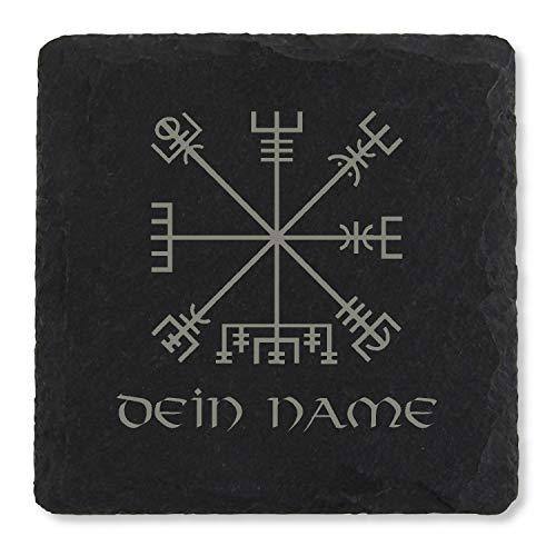 Kreativknoten Schiefer Getränkeuntersetzer personalisiert, mit Namensgravur - Motiv Wikinger Kompass - Vegvisir