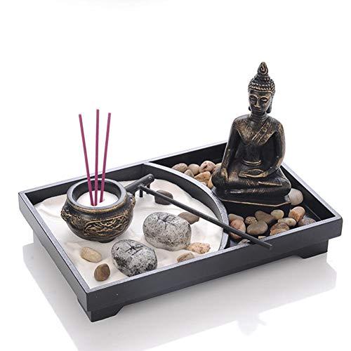 Clevoers Zen Jardín Buda Estatua Buda Estatua China Arte Meditación relajación pacífica Decoración Set, Buda Incienso Depósito Decoración para Yoga Lady Ornament