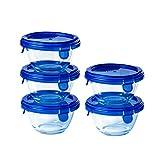 Pyrex® – Juego de 5 tarros redondos de cristal con tapas azules herméticas e impermeables – 0,2 l – Sin BPA