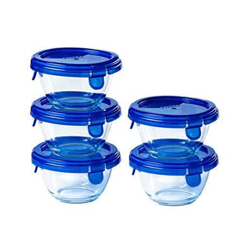 Pyrex® - Lot de 5 Pots Ronds en Verre avec couvercles Bleus hermétiques et étanches - 0,2L - sans BPA