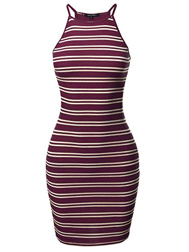 Awesome21 Stripe Print High Neck Ribbed Body-Con Mini Dress Burgundy White S