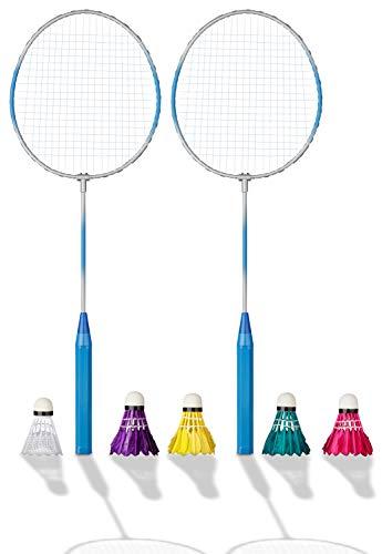 Shopping Hero Federball Basic Set 7-teilig, Ultraleichte Federballschläger 62cm, Schlagfläche ca 23x20cm, Kunststoff Federball, 4 Badminton Bälle mit echten Federn, für Kinder + Erwachsene!(Blau)