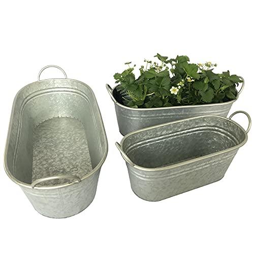 3 große Zinkwannen XL zum Bepflanzen im Set - Blumenkasten für Garten - Wasserdicht, Silber