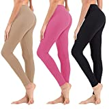High Waisted Leggings for Women - Soft Athletic Tummy Control Pants for Running Cycling Yoga Workout - Reg & Plus Size (3 Pack Black, HotPink, PeachPuff, US 2-12)