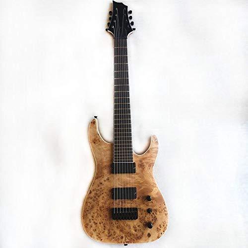 Guitarra Eléctrica De Caoba Sólida De Madera Principiante 8 Cuerdas Guitarra Altavoz Pitch Pipe Bolsa Correa Selecciones Mano Derecha (39 inches,tree burl)