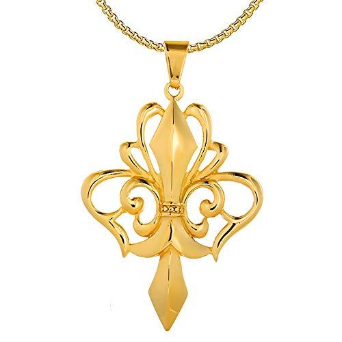 BOBIJOO Jewelry - Grote Hanger Ketting met Kruis, Fleur-de-Lys Royal Staal, Zilver, Goud Plated+Ketting