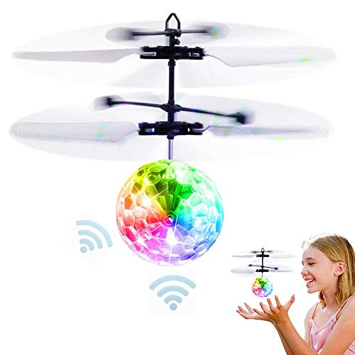 RC Flying Ball Toys Infrared Induction Drone Hand Control Helicopter with Shining LED Lights Disco USB Rechargeable Fun Novelty Toys for Kids Teenagers Indoor and Outdoor Games (A)