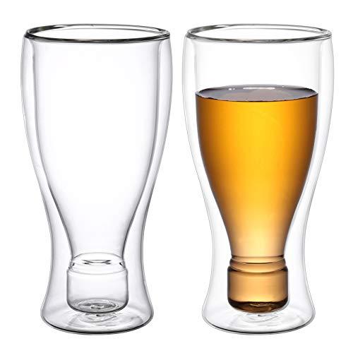 2Qlix Visión completa con bebidas frías: elegante vaso de cerveza de doble pared de 450 ml.