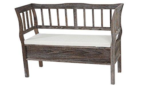 Panca cassapanca T207 legno di paulonia 40x119x85cm con cuscino ~ marrone