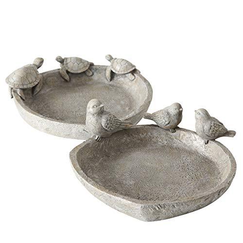 2 x Vogeltränke Mavius Kunstharz grau Breite 22 cm, Gartendeko, Geschenk