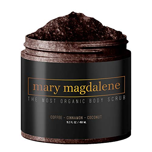 Mary Magdalene Coffee, Cinnamon & Coconut Oil Body Scrub - 100% Natural, Anti Cellulite & Stretch Mark Treatment - 15.2 Fl Oz Premium Exfoliating Body Scrub For Men & Women