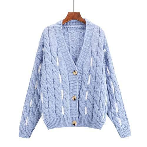 Dames pullover en pullover casual stijl twist trui gebreide jas vrouwelijk herfst Koreaanse stijl college stijl losse match All trui jack, JUSTTIME Eén maat lichtblauw