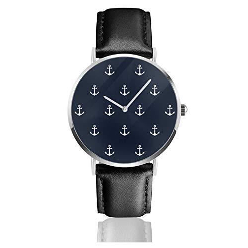 Azul ancla patrón reloj cuarzo movimiento impermeable correa de reloj de cuero para hombres mujeres simple negocio casual