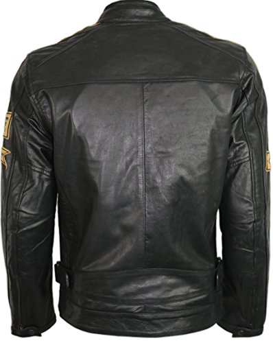 Motorrad Retro Lederjacke aus echtem Leder (L) - 3