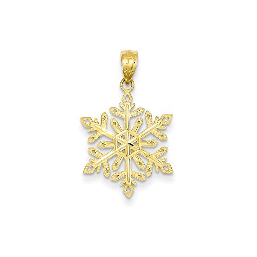 14k Yellow Gold Snowflake Pendant Charm Necklace Winter Fine Jewelry For Women Gifts For Her