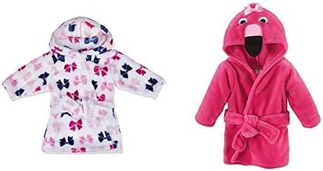 Hudson Baby Girl Plush Animal Face Bathrobe 2-Pack, Bows Flamingo