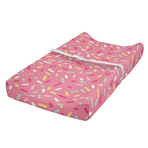 ABAKUHAUS Pink and White Changing Pad Cover, Donut Sprinkles, Soft Cover for Diaper Changing Pad with Safety Buckle Holes, Multicolor