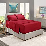 Nestl Extra Deep Pocket Sheets Set – Deep Fitted Sheet Set - Super Deep Sheets fits 18 Inch to 24 Inches Mattress - Hotel Ultra and Super Deep Bed Sheets - 6 PC Deep Pocket Queen Sheets Burgundy Red