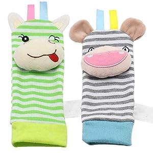 ZHANGNUO Sonajero para Bebé Juguetes Sonajero De Muñeca Y Calcetines De Pie Animal Cute Cartoon Baby Socks Sonajero Toys Negro