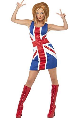 Disfraz para mujeres con diseño de bandera británica de Geri Halliwell de Spice Girls, década de 1990, vestido elegante