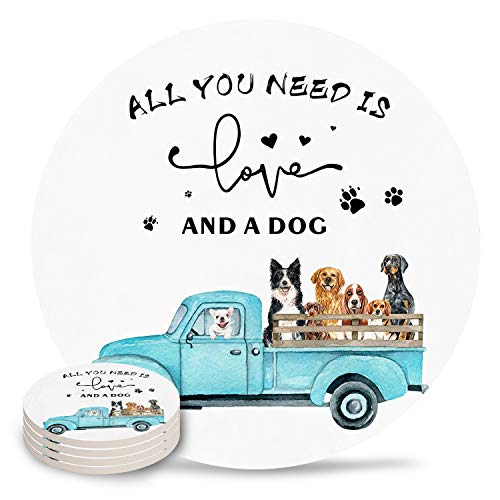 Country Farm Truck with Dogs Coasters for Drink  Absorbent Ceramic Stone Coaster Set with Cork Base for Kitchen Table Cups and Mugs  Set of 4 Farmhouse Animals