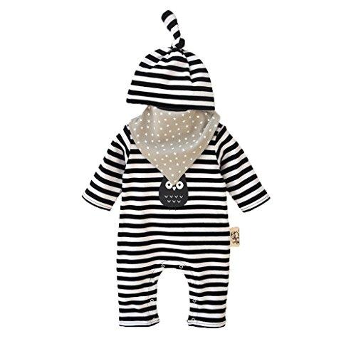 Vine Neugeborenes Baby 3 Pcs Strampler Spielanzug Baumwolle Langarm Baby Outfits Unisex Kleinkinder Streifen Jumpsuits mit Hut & Geifer-Lätzchen schwarz