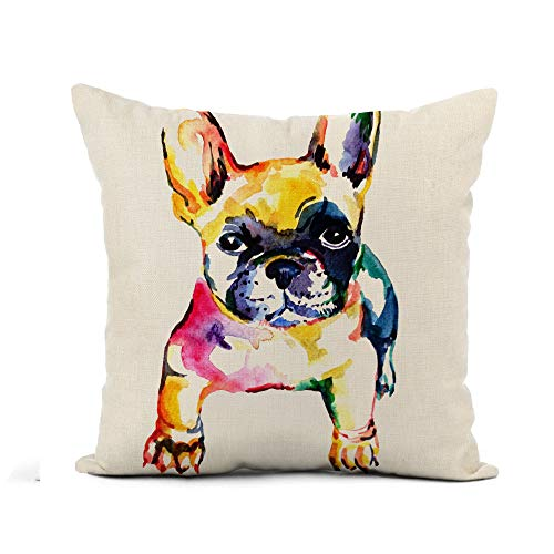 Awowee Flax Throw Pillow Cover Frenchie French Bulldog Original Watercolor of Dog Rainbow Cute 18x18 Inches Pillowcase Home Decor Square Cotton Linen Pillow Case Cushion Cover