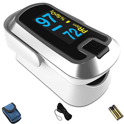 mibest OLED Finger Pulse Oximeter, O2 Meter, Dual Color White/Silver